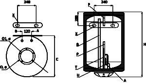 вертикален електрически бойлер размери bb el