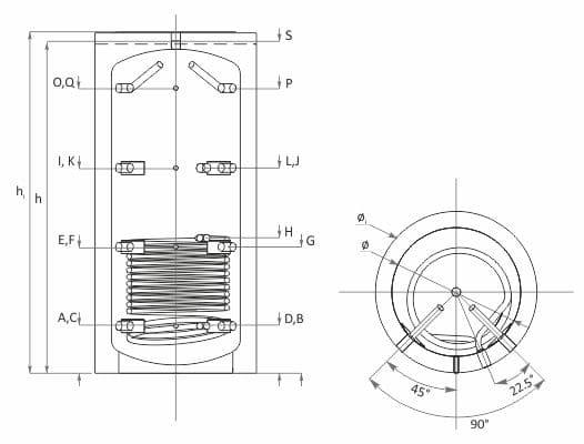 Технически характеристики буферен съд с една серпентина SUNSYSTEM PBM R