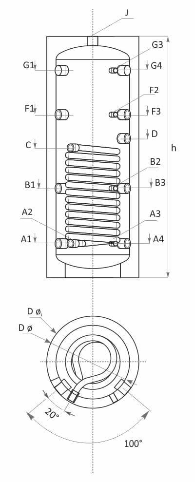 Технически характеристики буферен съд с една серпентина SUNSYSTEM PS1