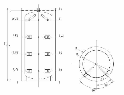 Елементи: 1 – Eстетична PVC обшивка в цвят RAL 9006 2 – Грундирана външна повърхност на водосъдържателя 3 – Демонтируема топлоизолация 4 – Водосъдържател от нисковъглеродна стомана Технически характеристики буферен съд без серпентина SUNSYSTEM PBM
