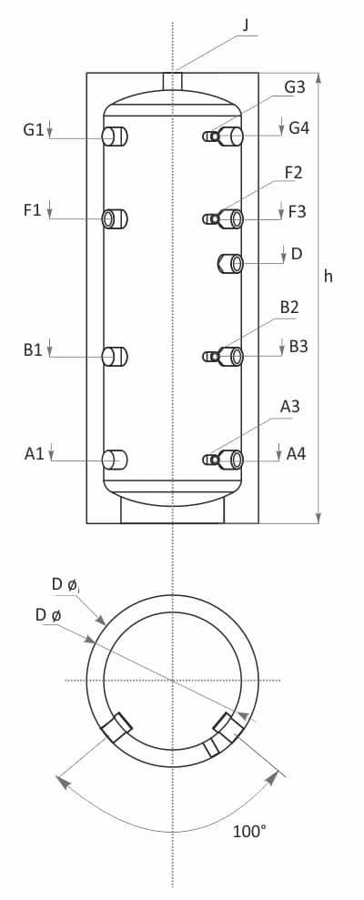Технически характеристики буферен съд без серпентини SUNSYSTEM PS